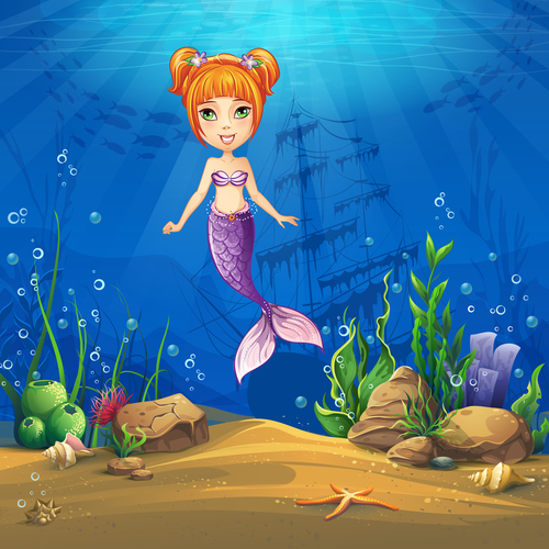Mermaid cartoon vector