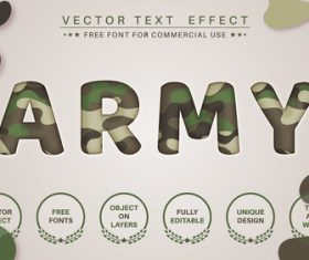 Military 3d editable text style effect vector