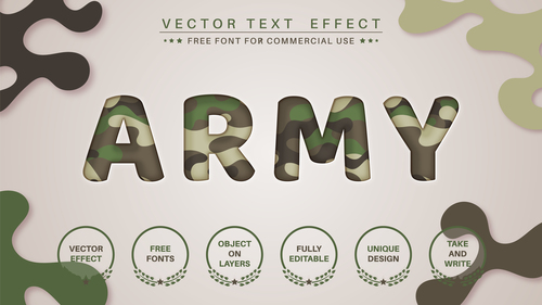 Military 3d editable text style effect vector