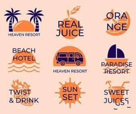 Minimal summer beach logo collection vector