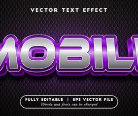 Mobile text effect editable vector