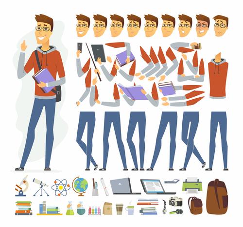 Modern student cartoon character constructor vector