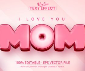 Mom font 3d editable text style effect vector