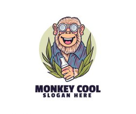 Monkey cool logo vector