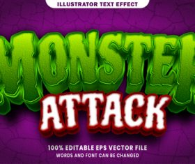 Monster attack 3d editable text style effect vector
