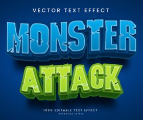 Monster attack diet text effect editable vector