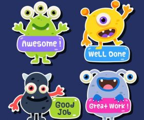Monster sticker cartoon collection vector