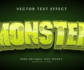 Monster text effect editable vector