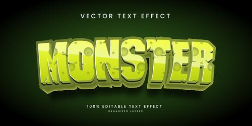Monster text effect editable vector
