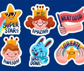 Motivation sticker cartoon collection vector