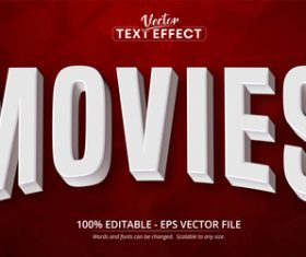 Movies font 3d editable text style effect vector
