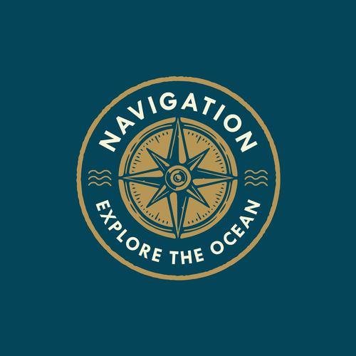 Nautical badge logo design vector