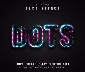 Neon dots text effect vector