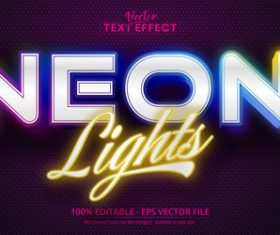 Neon lights editable font vector