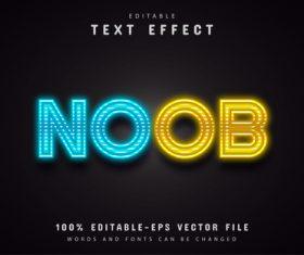 Neon text effect editable vector