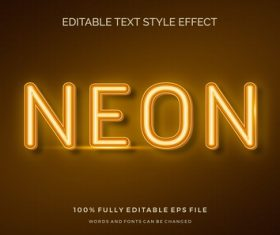 Neon text effect editable vector
