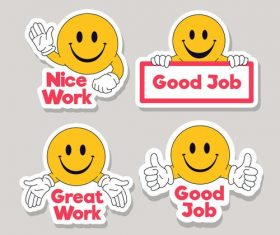 Nice work cartoon expression background vector