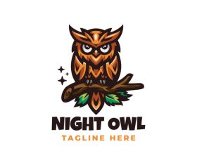 Night owl mascot icon design vector