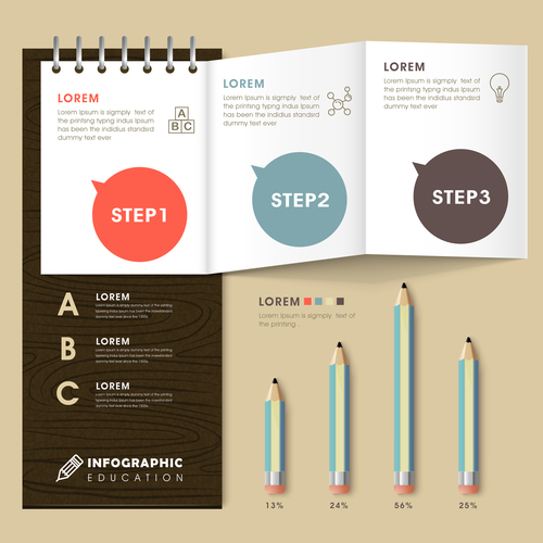 Notepad infographic concept vector