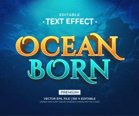 Ocean born editable text effect vector