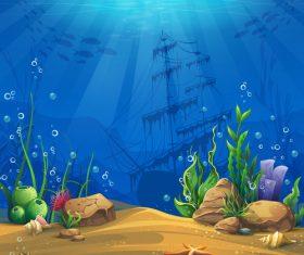 Ocean shipwreck vector