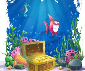 Ocean treasure cartoon vector