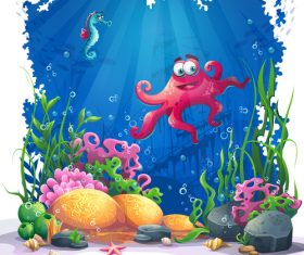 Octopus and seahorse ocean world cartoon vector