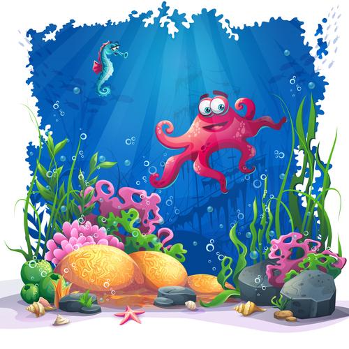 Octopus and seahorse ocean world cartoon vector