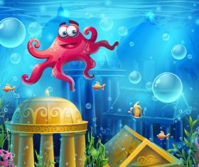 Octopus and the ruins of the underwater city vector