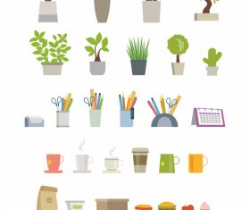Office essentials vector flat elements set