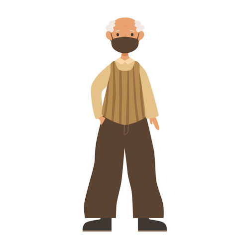 Old man wearing mask vector