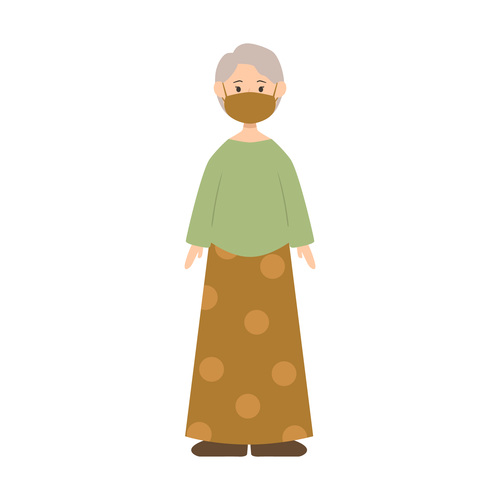 Old woman wearing mask vector