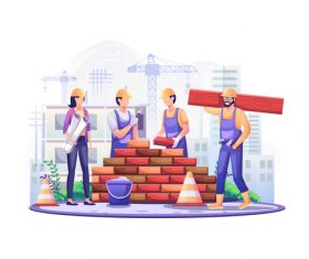On labor day workers are laying bricks and constructing buildings vector