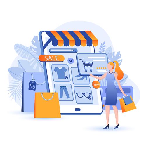 Online shop cartoon illustration vector