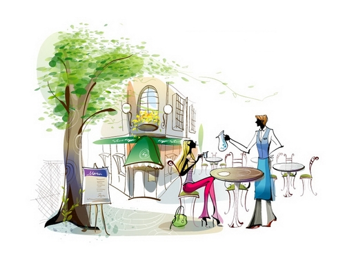 Open air coffee shop illustration vector