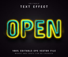 Open neon text effect editable vector