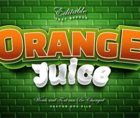 Orange juice 3d effect text design vector