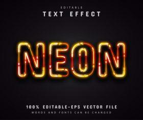 Orange neon text effect vector