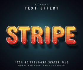 Orange stripes text effect vector