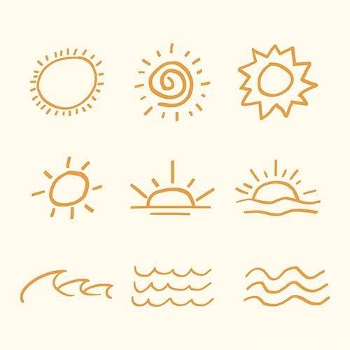 Orange summer sunset vector sticker cute doodle set