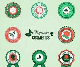 Organic cosmetic badges vector