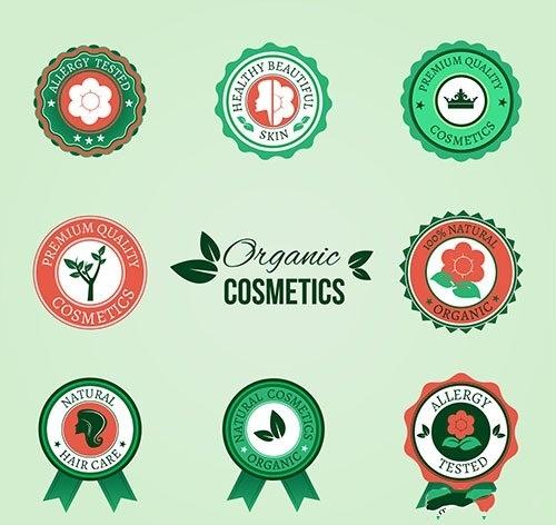 Organic cosmetic badges vector