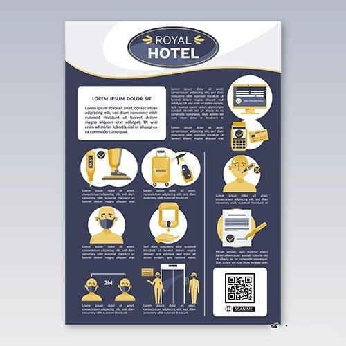 Organic flat coronavirus prevention poster for hotels vector