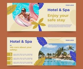 Organic flat hotel banner template with photo vector