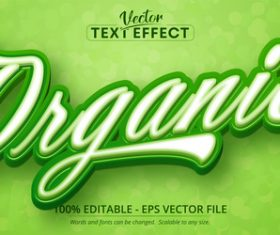 Organic green editable text style effect vector