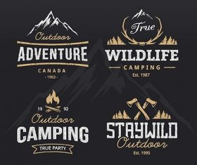 Outdoor retro emblems set vector