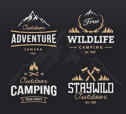 Outdoor retro emblems set vector
