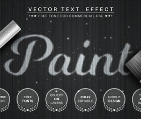 Paint 3d editable text style effect vector