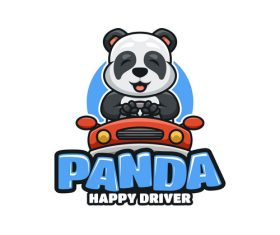 Panda happy driver icon design vector