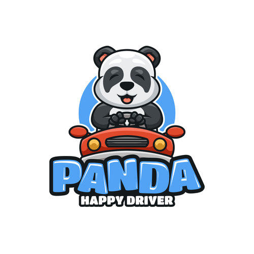 Panda happy driver icon design vector